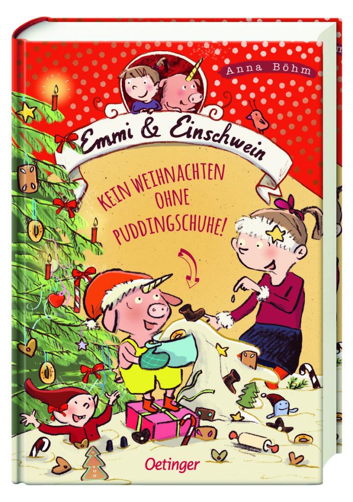 """Cover des Kinderbuches """"Emmi und Einschwein - Kein Weihnachten ohne Puddingschuhe"""", Band 4 der Kinderbuchreihe"""