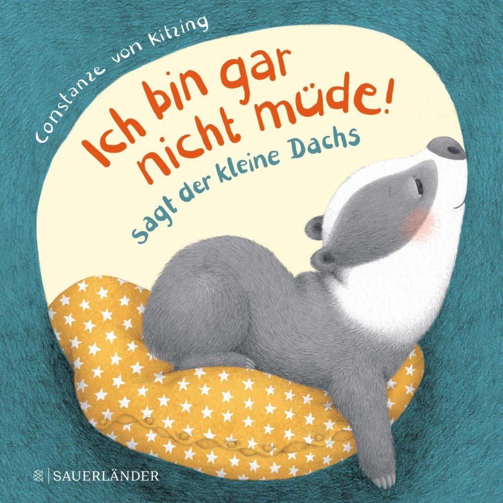 Pappbilderbuch als Gute-Nacht-Geschichte für Kinder ab 2 Jahren: Ich bin gar nicht müde!, sagt der kleine Dachs