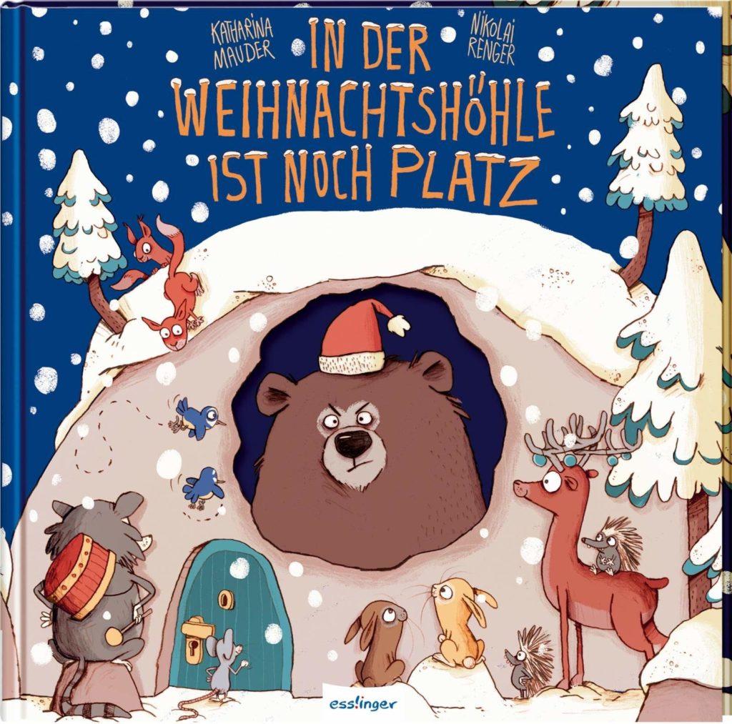 Bilderbuch mit Ausschnitt, in dem man einen grimmigen Bären sieht: In der Weihnachtshöhle ist noch Platz
