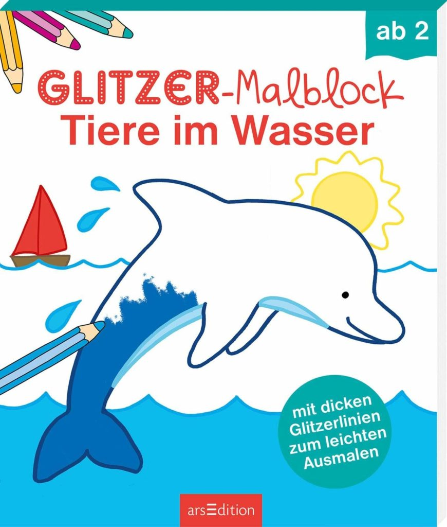 Glitzer-Malblock - Tiere im Wasser
